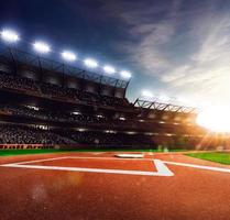 Professional baseball grand arena in sunlight photo