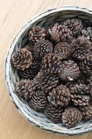 The cones ornament in woven bowl