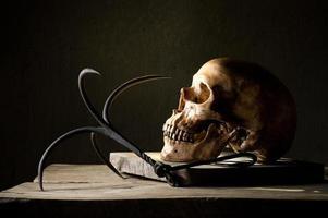 crânio humano com gancho de aço