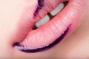 Red gloss lips. photo
