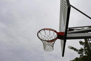 The goal of the outdoor basketball photo