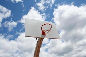 Basketball hoop against a cloudy sky photo