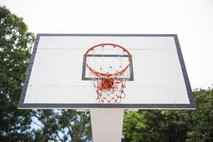 basketball hoop in the courtyard
