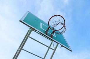 Basketball board against blue sky background photo