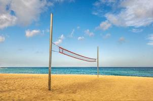Beach volley net on the sand