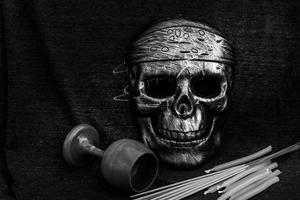 still life concept human skull mask photo
