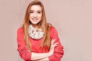 Smiling teenage girl with braces photo