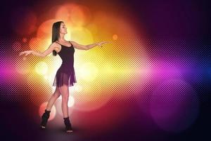 Beautiful dancer. Glow multicolor circles photo