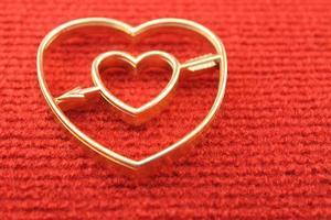 Golden heart close-up photo
