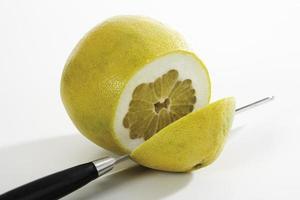 Sliced pomelo, close-up photo