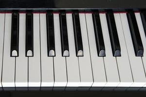close-up piano keys.