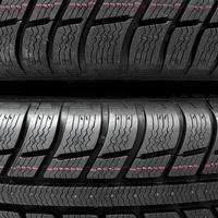 Snow tires close-up