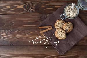 galletas de avena, primer plano foto
