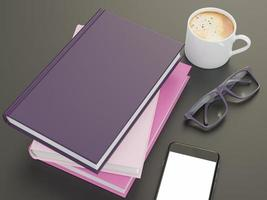 Plantilla de maqueta de libro de color vacío sobre fondo negro