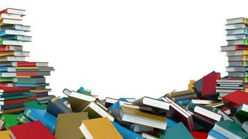 Pile of colorful books on white background