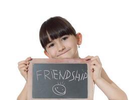 Girl and chalkboard