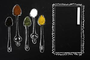 Spices on chalkboard photo