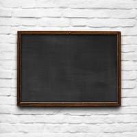 Chalkboard on white brick wall