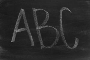 Chalkboard with  letters