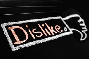 Dislike Icon handwritten on black chalkboard