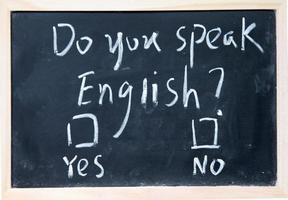 Chalkboard with English test and check boxes