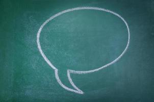 Hand-drawn speech bubble on chalkboard background