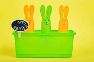 Easter Bunnies in flower pot with chalkboard photo