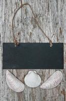 Chalkboard with seashells on the old wood photo