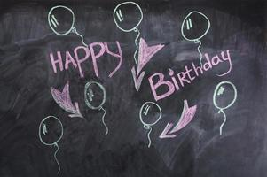 "The words ""Happy birthday"" on the chalkboard"