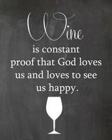 Wine and God Kitchen Chalkboard Quote