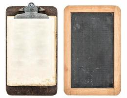antique clipboard and chalkboard isolated on white photo