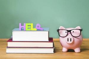 Help theme with pink piggy bank with chalkboard photo