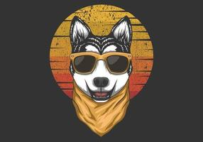 Husky Sunset Retro Illustration vector