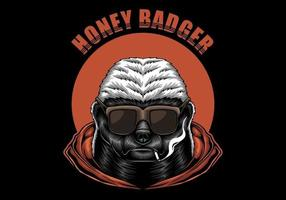 Honey Badger With Sunglasses Illustration