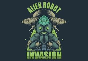 Alien Roboter Invasion Illustration