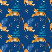 Tigers and Cheetahs Wild Cats Seamless Pattern