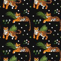 Tigers Seamless Pattern on Black