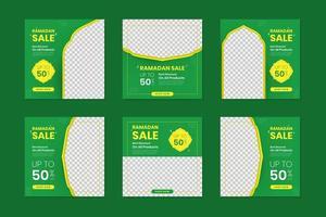 conjunto de quadros de postagem de mídia social verde ramadan kareem vetor