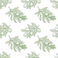 Olive Tree Branch Seamless Pattern vector