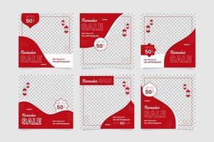 conjunto de quadros de história de mídia social ramadan kareem vermelho vetor