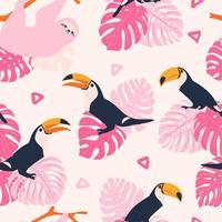 patrón de pastel tropical con patrón de tucanes y perezosos