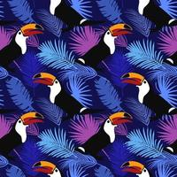 Tropical Bright Pattern with Toucans Seamless Pattern vector