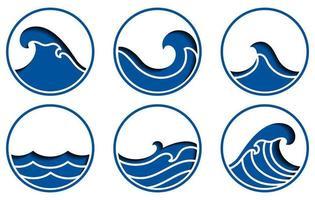 conjunto de iconos de las olas del océano vector