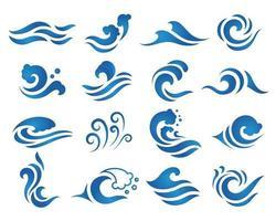 conjunto de logo de onda de agua azul vector