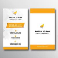 Vertical Business Card with Gray and Yellow Accents vector