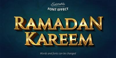Shiny gold Ramadan Kareem text effect