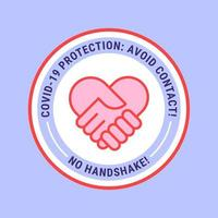 No Handshake Heart Badge vector