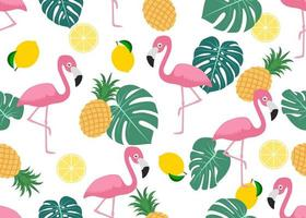 Seamless pattern of flamingo with tropical leaves
