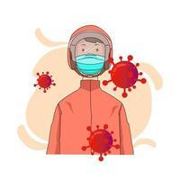 persona che indossa maschera medica e timone