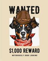 Cowboy Dog in Wanted Sign